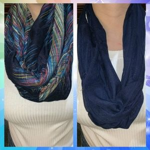 Two Blue Infinity Scarves Plain and Patterned